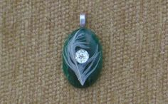 Dark green agate with seagull feather and genuine white topaz pendant with sterling silver chain by GodgivenTalent on Etsy