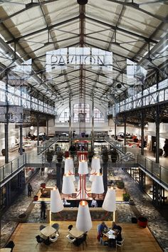 Pavilon: an old market in Prague is reborn in a shopping center dedicated to design Industrial Architecture, Industrial Loft, Industrial Interiors, Architecture Design, Restaurant Hotel, Restaurant Design, Commercial Interior Design, Commercial Interiors, Urban Loft
