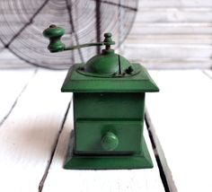 French Vintage Pepper Mill Green Wooden by shabbyfrenchvintage