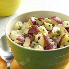 Lemon Vinaigrette Potato Salad ~ This recipe was developed by Melanie Cloyd in New Jersey for a friend who needed a potato salad that could withstand 4th of July Weather.  The vinaigrette was a safe and delicious alternative to traditional mayonnaise-based potato salads.  Substitute fresh thyme for the basil or any fresh herbs!