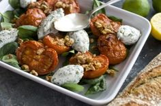 Roasted Tomatoes with Herbed Ricotta and Walnuts
