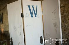 This 3-Door Screen was the GUEST BOOK.   Guests signed wishes and thoughts and now a forever momento of the day and a part of the Bride's home decor.  Doors were purchased at Habitat Store and the FoB hinged and added knobs. MoB painted and stenciled.  Good$en$e Style.  Backyard Soiree Weddings and Events.