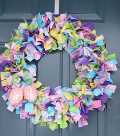 18 Inch Easter or Spring Frayed Fabric Wreath. I want this wreath!