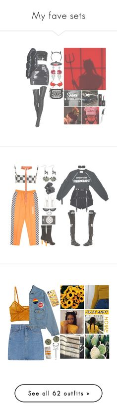 """""""My fave sets"""" by queen-of-disasterxxi ❤ liked on Polyvore featuring Club Exx, Jean-Paul Gaultier, Prada, Yves Saint Laurent, black, Boots, devil, Carolina Glamour Collection, Vetements and MM6 Maison Margiela"""
