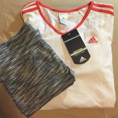 NWT Adidas Basics Top NWT‼️Adidas white with light red stripes long sleeve basics top. Size large. no trades. BUNDLE TO SAVE Adidas Tops Tees - Long Sleeve