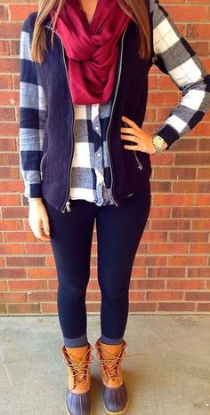 #fall #fashion / plaid + vest