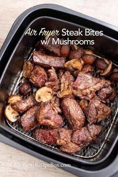 Fryer Steak Bites Recipe for Juicy Air Fried Steak Recipe Fryer.Air Fryer Steak Bites Recipe for Juicy Air Fried Steak Recipe Fryer. Air Fryer Oven Recipes, Air Fry Recipes, Air Fryer Dinner Recipes, Beef Recipes, Healthy Recipes, Easy Recipes, Eat Healthy, Air Fryer Chicken Recipes, Dinner Healthy