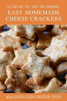 These egg and nut free Easy Homemade Cheese Crackers are fantastic for school lunches and snacks. This simple recipe is so tasty. If you have not made homemade crackers this will convert you!   #cracker #crackerrecipe #easycrackerrecipe #simplecrackerrecipe #homemadecracker #homemadesavourybiscuit #savourybiscuit #schoollunchidea #schoollunchsnack #kidssnack #snackideaforkids  via @goodielunchbox