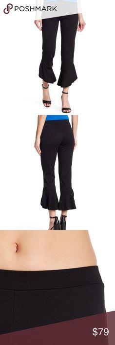 049e64b46f Abound NEW Black Women's Size Medium M Stretch Fla Abound Women's Ruffle  Hem Knit Crop Pants