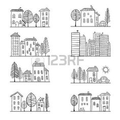 Drawing Doodles Sketches Illustration of hand drawn houses small town Stock Vector - Doodle Sketch, Doodle Drawings, Easy Drawings, Doodle Art, Town Drawing, Drawing Art, Drawing Ideas, Stencil, House Doodle