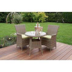 Maze Rattan Garden Furniture Natural Milan Green 2 Seater Bistro