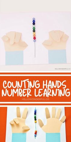 This counting hands number learning activity for preschool is a fun and visual way to learn! Practice counting and simple math with this cute counting hands project. #hellowonderful Kindergarten Learning, Preschool Learning Activities, Toddler Activities, Preschool Activities, Math For Kids, Crafts For Kids, Learning Numbers, Learning Shapes, Simple Math