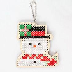 Wood Cross Stitch Ornament Kit - Snowman