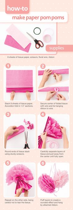 How-to make paper pom poms using tissue paper. #diy #decor