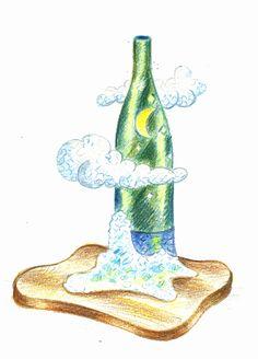 Boceto de botella con nubes decorada en trencadís nº1 http://joanserinya.blogspot.com.es/