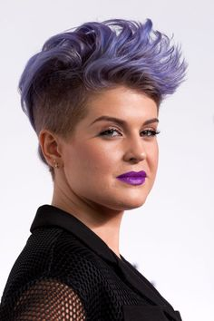 Short and Spiky One way to make super-short hair work on a rounder face: Add loads of volume like Kelly Osbourne! To mimic her mohawk-lite style, shape your hair with Living Proof Modeling Clay ($26, sephora.com). See more haircuts that are perfect for round face shapes at GoodHousekeeping.com.