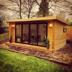 Beautiful Garden Room timber framed structure insulated for year round enjoyment a million different uses how would you use yours? www.greenretreats.co.uk #gardenroom #gardengym #mancave #gardenoffice #teenagehangout #artstudio #howtobuildashed