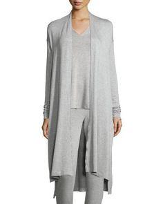 Natori+Terry+Lounge+Long+Cardigan+Light+Heather+Gray+|+Sweater+and+Clothing