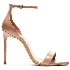 Saint Laurent Amber patent-leather sandals (7.919.450 IDR) ❤ liked on Polyvore featuring shoes, sandals, heels, nude, thin strap sandals, strap heel sandals, strap sandals, nude shoes and stiletto heel sandals