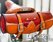 Can't afford this but beautiful bag on Etsy. Leather Bicycle Handlebar or Saddle Bag by Choirbox on Etsy Leather Bicycle, Bicycle Bag, Bicycle Accessories, Leather Accessories, Leather Tooling, Leather Bag, Tooled Leather, Bike Leathers, Round Bag
