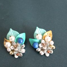 floral clip earrings by Sweetlakevintage on Etsy