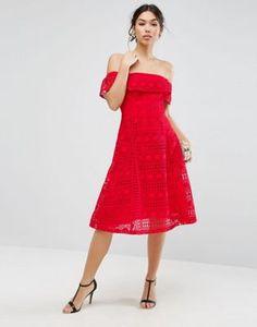 0057b53b4242 ASOS Lace Off Shoulder Midi Dress at asos.com