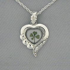 Genuine 4-Leaf Clover Silvertone Heart Necklace