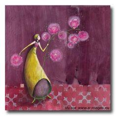 CARTES D'ART > BOISSONNARD Gaëlle > CARTES SIMPLES 14x14cm > BOISSONNARD Les pivoines lumineuses - e-mages - La carterie d art