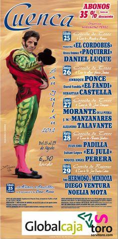 Cartel Feria taurina de Cuenca 2012. Reserve ahora tus entradas de toros Cuenca 2014. http://www.servitoro.com/Entradas-Toros-Cuenca.html