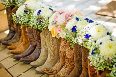 Cow Boy Boots and Bouquets|Rustic Country Wedding at Lake Oak Meadows|Photographer:  Kayden Studios Country Wedding Bridesmaid Dresses, Wedding Dress Boots, Cowboy Wedding Attire, Rustic Wedding Attire, Boho Wedding, Dream Wedding, Fantasy Wedding, Rustic Country Weddings, Country Wedding Flowers