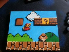 Mario scene on canvas perler beads by JapanHasRice2
