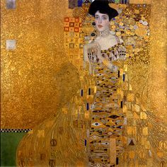 Gustav Klimt: Portrait of Adele Bloch-Bauer I, 1907. Oil and gold on canvas. It took three years to complete the portrait, which was destined to have a complicated history. Purchased by Ronald Lauder for the Neue Galerie, New York (where it has been on display since 2006).