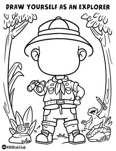 Draw yourself as an epic adventurer exploring the jungle! Great activity for kids. Find more activity sheets and coloring pages on our website. Jungle Theme Activities, Rainforest Activities, Preschool Jungle, Jungle Theme Classroom, Rainforest Theme, Preschool Themes, Activities For Kids, Jungle Coloring Pages, Coloring Books