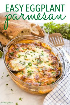 This Easy Eggplant Parmesan is a deliciously cheesy vegetarian meal idea made with fresh eggplants, savoury parmesan and mozzarella cheese, and an easy homemade tomato sauce! Recipe from thebusybaker.ca! #eggplantparmesan #parmesan #cheese #vegetarian #eggplant #plantbased #mealidea #weeknightmeal #easymeal #familymeal #italian Side Dish Recipes, Easy Dinner Recipes, Easy Meals, Easy Recipes, Dinner Ideas, Best Comfort Food, Comfort Foods, Vegetarian Recipes, Healthy Recipes