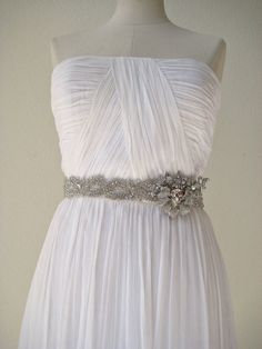 Bridal wedding beaded crystal sash with exotic orchid by IngenueB, $185.00
