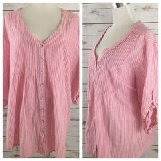 J. Jill 2X Cotton Button Down Shirt Top V Neckline Rolled Cuffs Pink Stripe EUC  | eBay