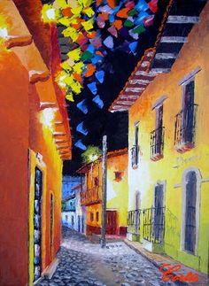 Calle Fortin por Hector Cortes - Pintor y fotografo hondureño Pinturas al oleo con espatula de Yuscarán, Tegucigalpa y Honduras.