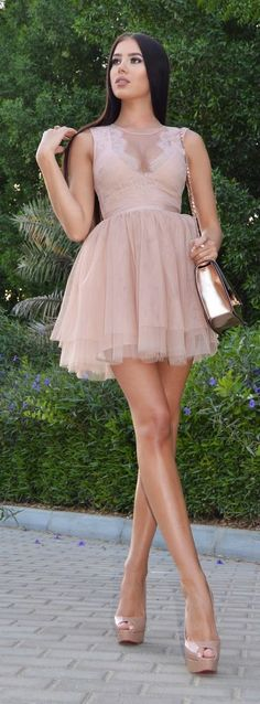 Dolled-up Sexy Nude Dress - Laura Badura Fashion