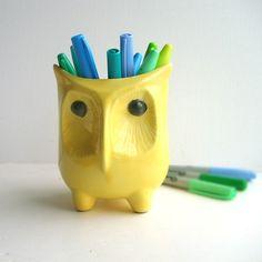 Mid Century Modern Yellow Owl Vase
