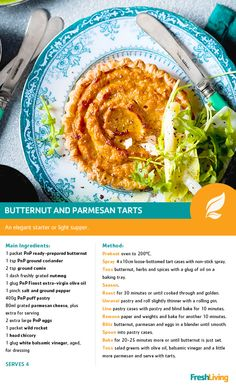 Meat-free and tasy, this Butternut and parmesan tart is a light treat - a great alternative to heavy and rich meat! Healthy Mind, Healthy Foods, Healthy Recipes, South African Recipes, Ethnic Recipes, Buttermilk Oven Fried Chicken, Dried Beans, Cheese Platters, Fries In The Oven