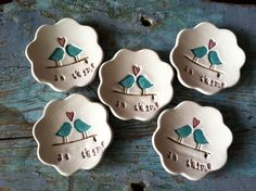 Bridesmaids Gifts or Wedding Favors A set of 8 Je Taime Love Birds Ring Dishes via Etsy.