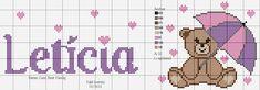 Letícia ponto cruz com ursinha chuva de amor Some Ideas, Handicraft, Cross Stitch, Teddy Bear, Kids Rugs, Pattern, Crafts, Animals, Boy Names