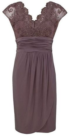 Alexon Light Brown Lace Top Dress in Purple (ivory) - Lyst