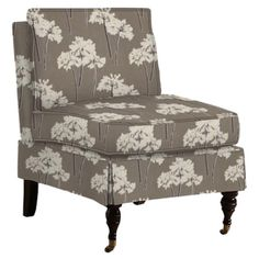 I love the floral print and fancy front legs on this accent chair - it'd be great for the open corner in our bedroom.