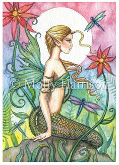 ACEO Limited Edition Print  Tropical Mermaid  by MollyHarrisonArt
