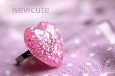 Heart Jewelry  Pink Glitter Heart Ring Resin Romantic by isewcute, $15.50