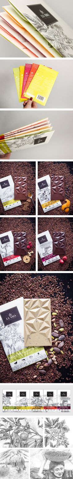 La Naya Chocolate. Brand concept, graphic design and art direction: Gabija Platukytė. Illustration: Graphic a Lot (Ieva Stasevičiūtė, Eglė Čiučiulkaitė). Copywrite: Lina Simutienė. Photography: Romanas Dzinzeleta. Lithuania. Awards: Lithuanian National Packaging Design Awards NAPA: 2nd place in Food and Beverages Packaging Category.
