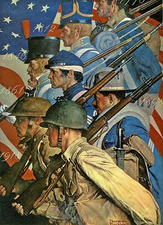 """""""Americans at War"""" ~ WWII poster illustrated by Norman Rockwell, ca. 1940s"""