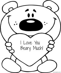I Love You Beary Much Valentine's Day coloring page for kids - great for valentines day, mothers day, fathers day, and grandparents day!