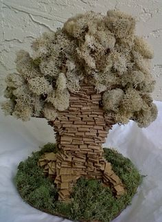 Pizza Box Tree Sculpture, Recycled Art, Cardboard art, moss on Etsy, $70.00